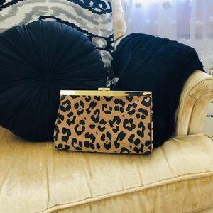Jcrew cheetah print clutch with gold trim. Leather